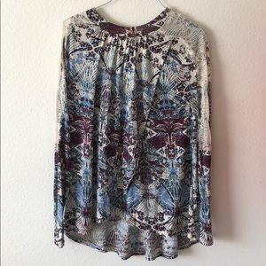 Free People Lace Long Sleeve Wrap Front Top